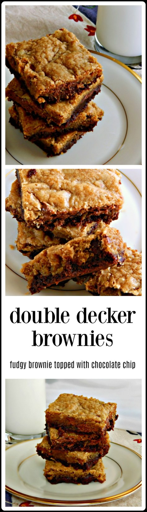 Easy, mix by hand - two layer bars - chocolate chip cookie on top, fudgy brownie on bottom