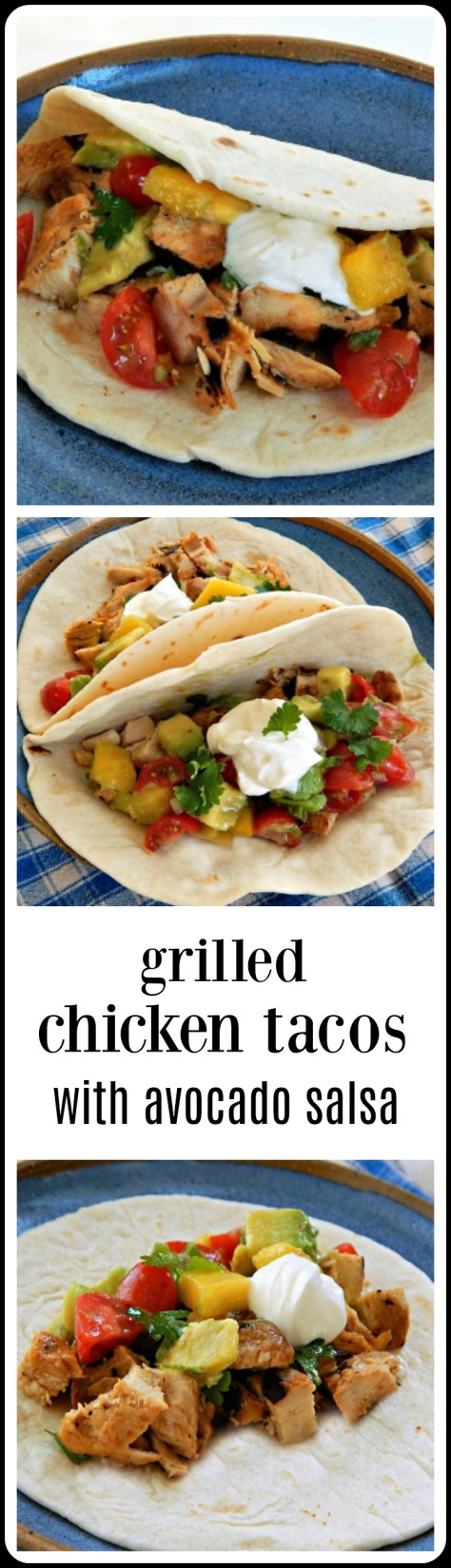 Grilled Chicken Tacos with Avocado Mango Salsa.