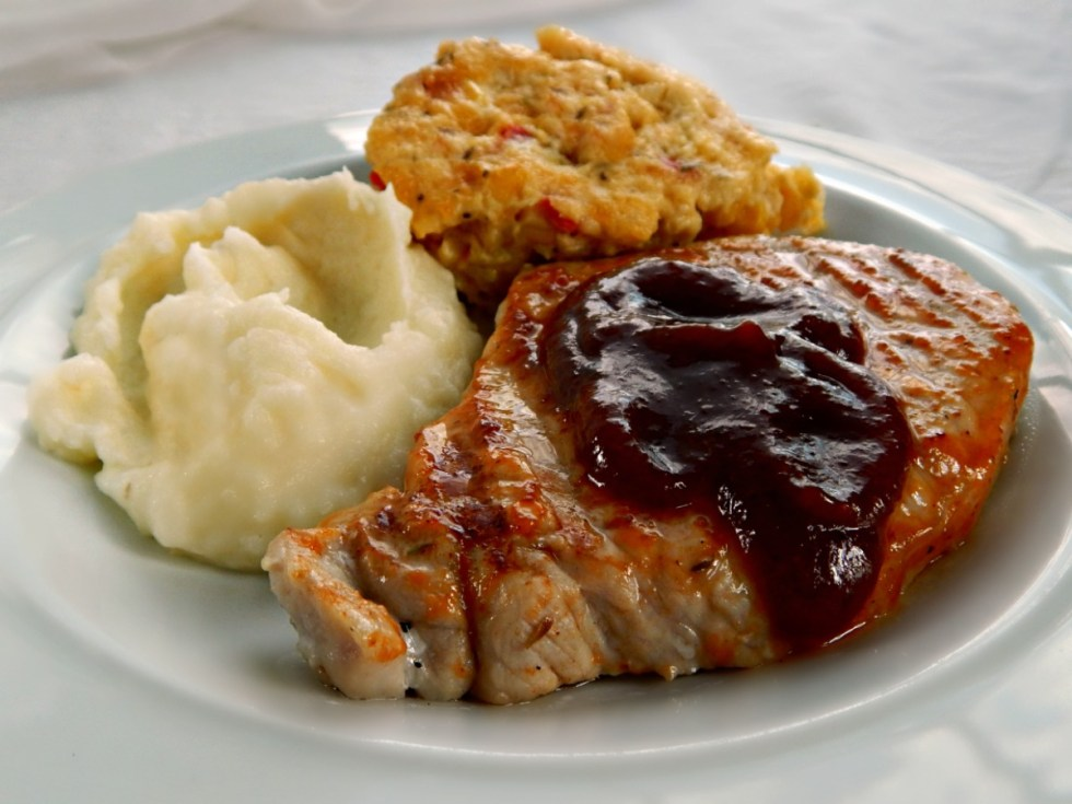 Sweet Bourbon Maple Brined Pork Chops with Old Time Corn Pudding