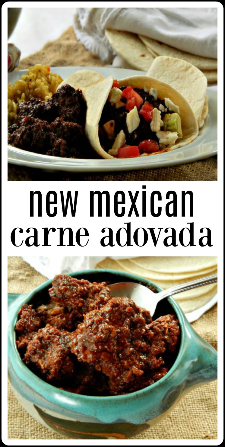 New Mexican Carne Adovad is succulent pork braised in an earthy, soulful blend of chilis until that meat practically falls apart with a fork and the sauce is just about caramelized. So good. This is serious down-home cooking done right! #CarneAdovada #NewMexicanCarneAdovada