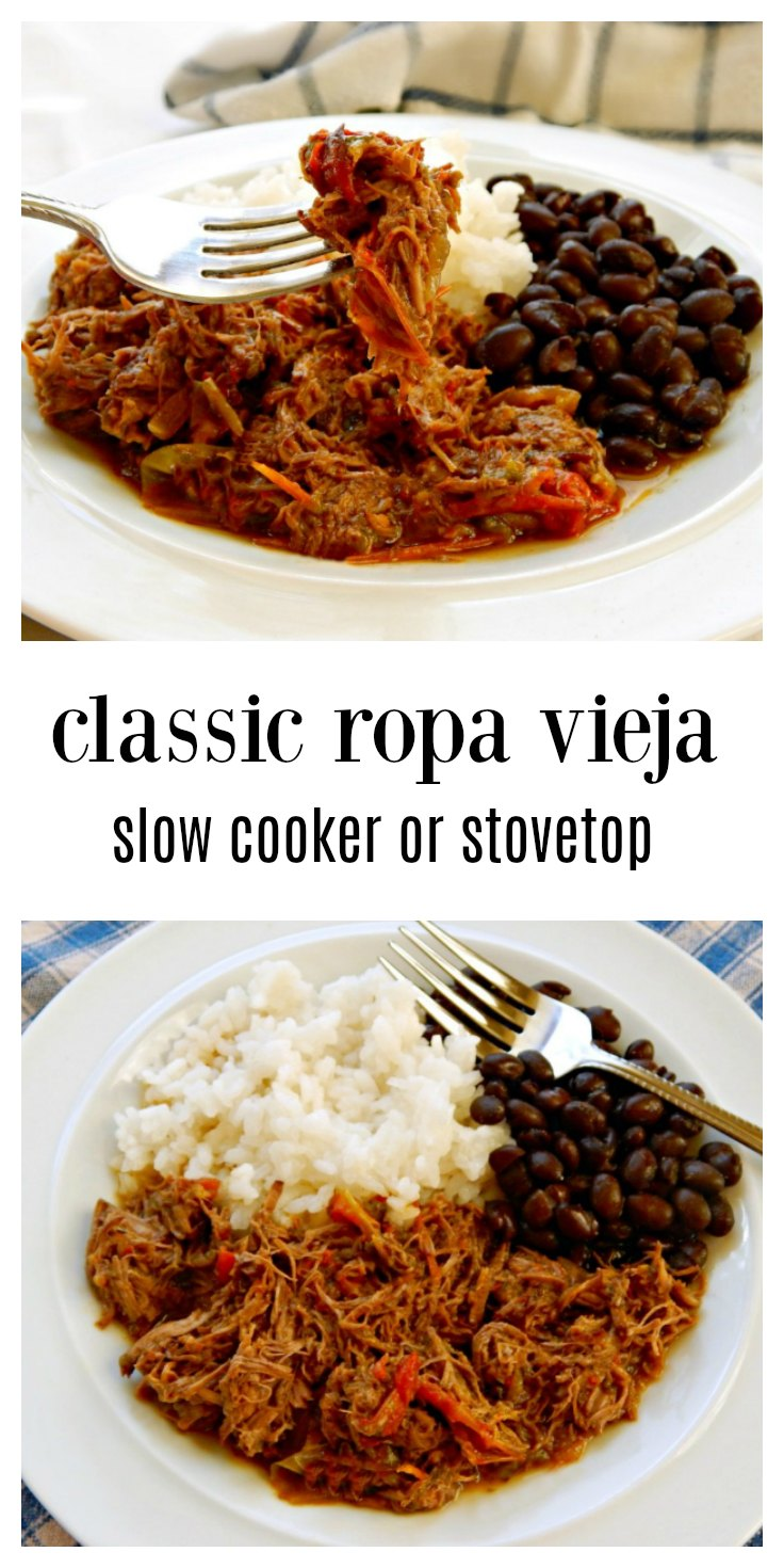 Ropa Vieja is so easy on the stove or in the slow cooker & is so much more than it sounds; tender beef cooked with peppers and aromatics until it shreds; it's just luscious. Serve with rice & beans. #RopaVieja #SlowCookerRopaVieja