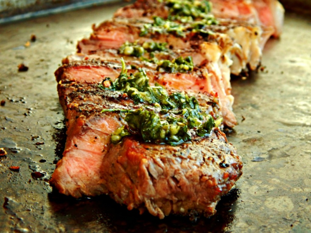 Coffee & Coriander Rubbed New York Strip Steak with Chimichurri