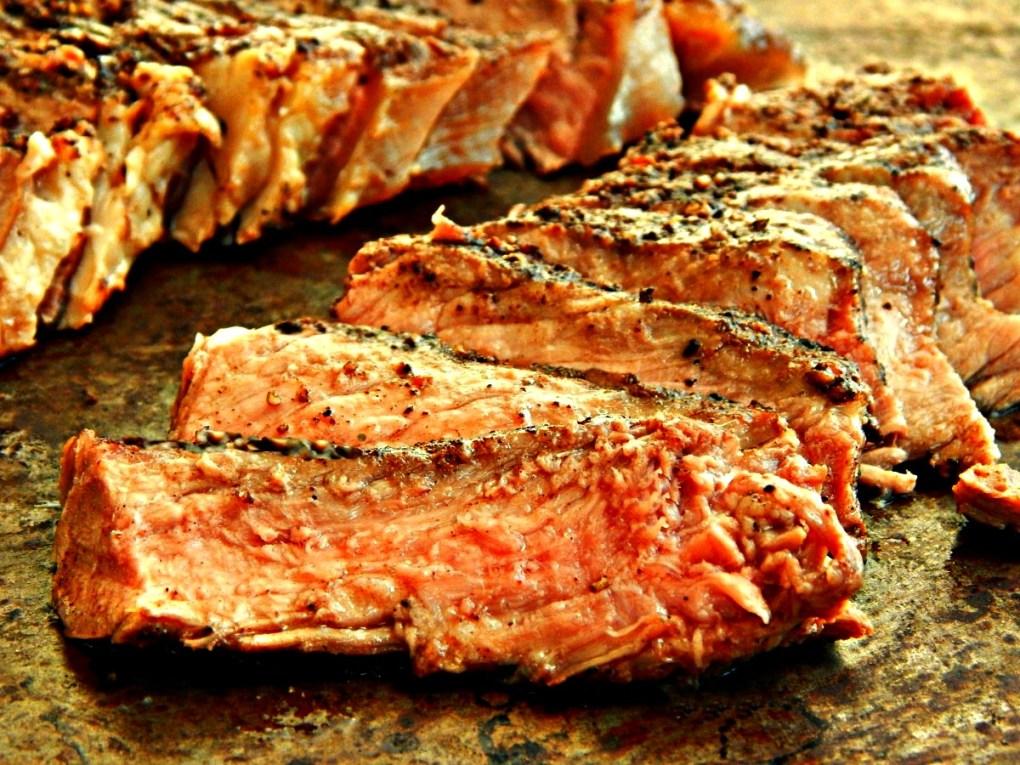 Coffee & Coriander Rubbed New York Strip Steak with Chimichurri