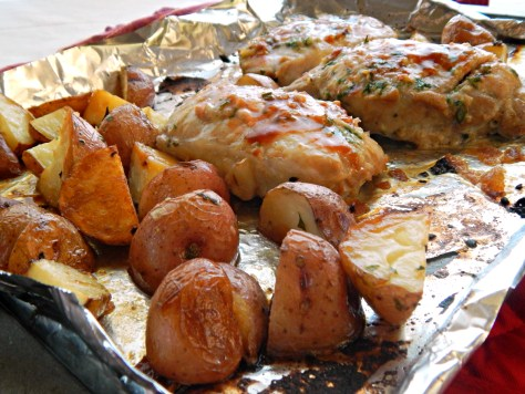 Herb Rubbed Beer Brined Pork Chops & Roasted Potato Sheet Pan Tray