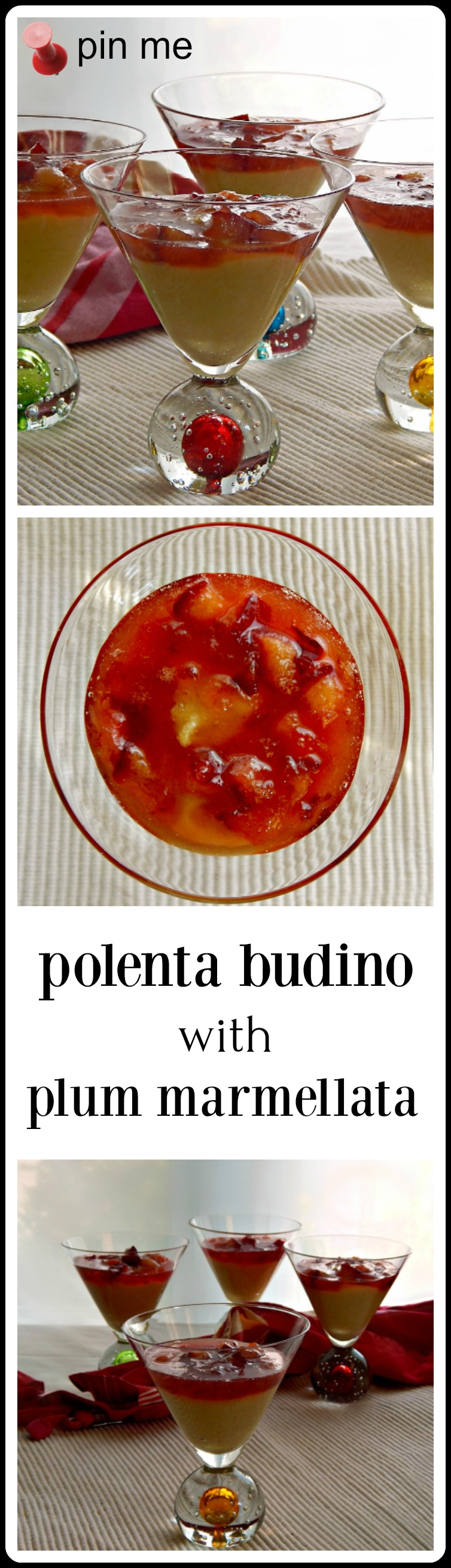 "Polenta Budino - like a cornmeal pudding with a dreamy plum compote. From Mario Batali. Kind of like ""Indian Pudding"" only better!"
