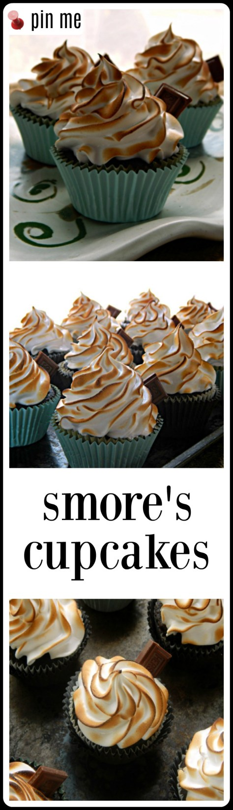 Smore's Cupcakes have a Toasted Swiss Meringue Topping, a Truffle filling and a chocolate & graham cracker crust. Finish with a piece of a Hershey's Bar.