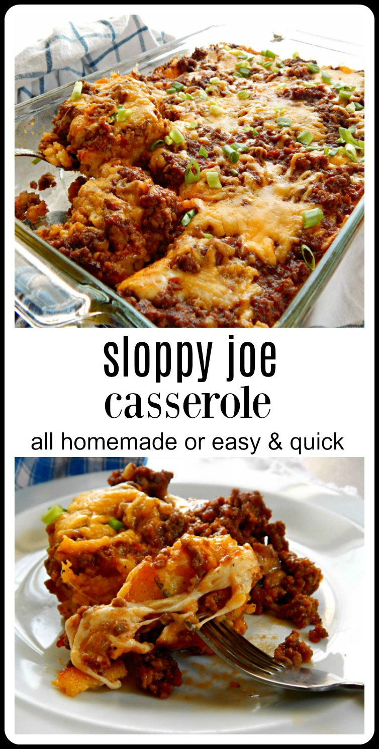 Sloppy Joe Casserole is going to have them running to the table. This is easy homemade but take a shortcut with cornbread mix or the Sloppy Joes if you want. #SloppyJoeCasserole