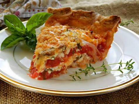 Cheesy Vidalia & Tomato Pie, adapted from Emeril Lagasse