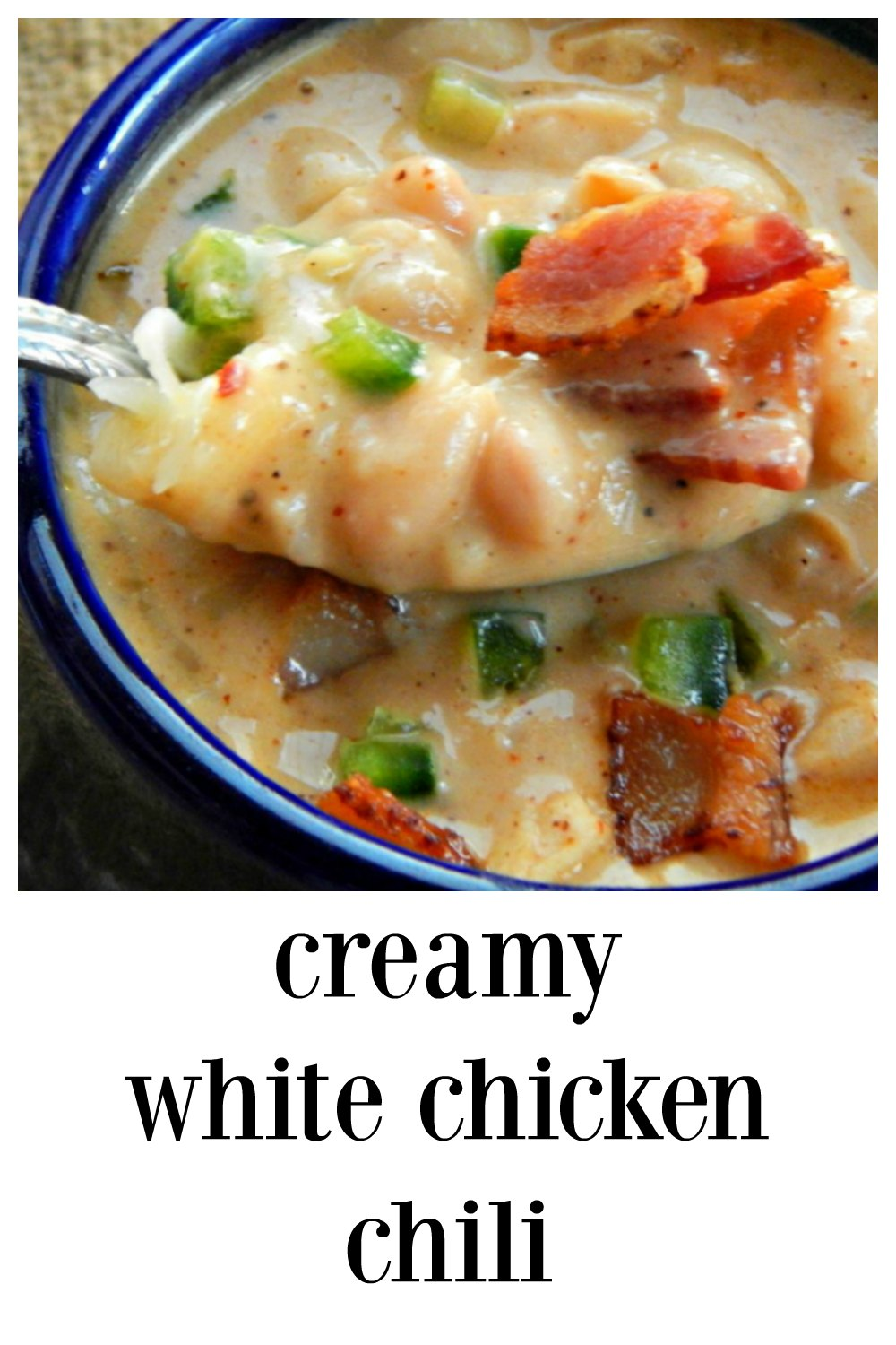 Creamy White Chicken Chili is crazy over the top good, a little spicy, a little smoky and crazy good. Easy to make & perfect for game day or family dinner! #CreamyWhiteChickenChili #WhiteChickenChili #ChickenChili #WhiteChili