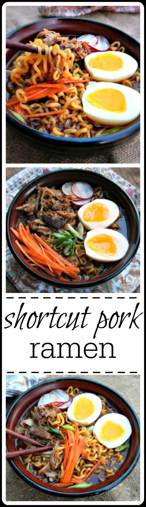Shortcut Pork Ramen: Make this with Vaguely Vietnamese Pork or almost any leftover Pork Shoulder dish (with the juices)