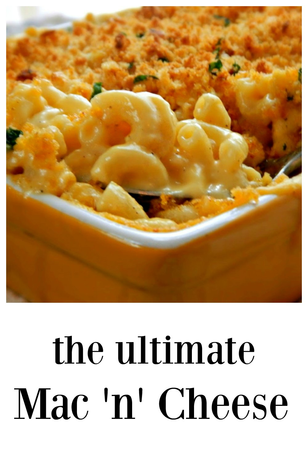 This really is the BEST Mac & Cheese I've ever made - no make that the BEST I've EVER tasted!! From the perfect texture of the macaroni, the luscious creamy cheese and that killer bread crumb topping - it's all good! #UltimateMac&Cheese #UltimateMacaroni&Cheese, #BakedMacaroni&Cheese