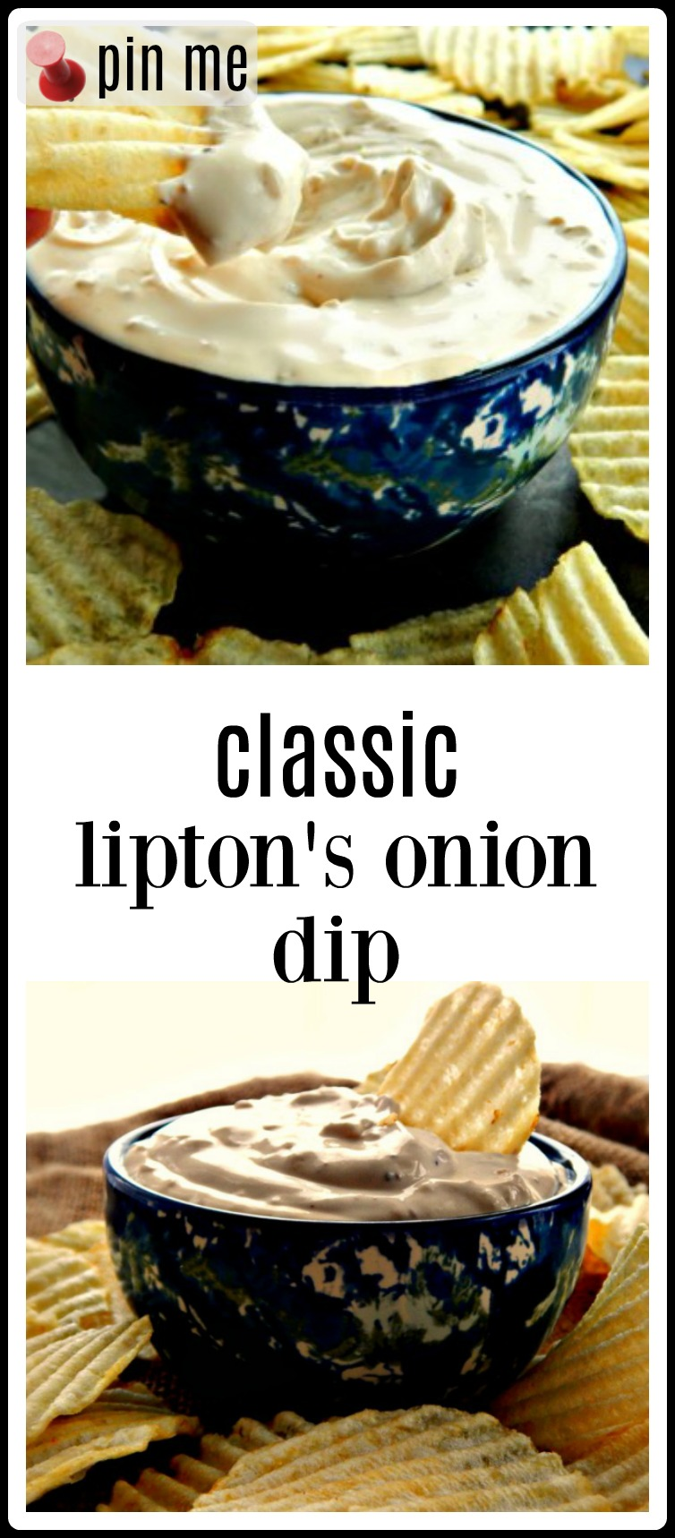 Classic Lipton's Onion Soup Dip made from Lipton's Onion Soup Mix and Sour Cream is everything I remember! So much fresher than anything you can buy in a carton and so easy! #LiptonsOnionDip #ClassicLiptonsOnionDip #OnionSoupDip #OnionDip