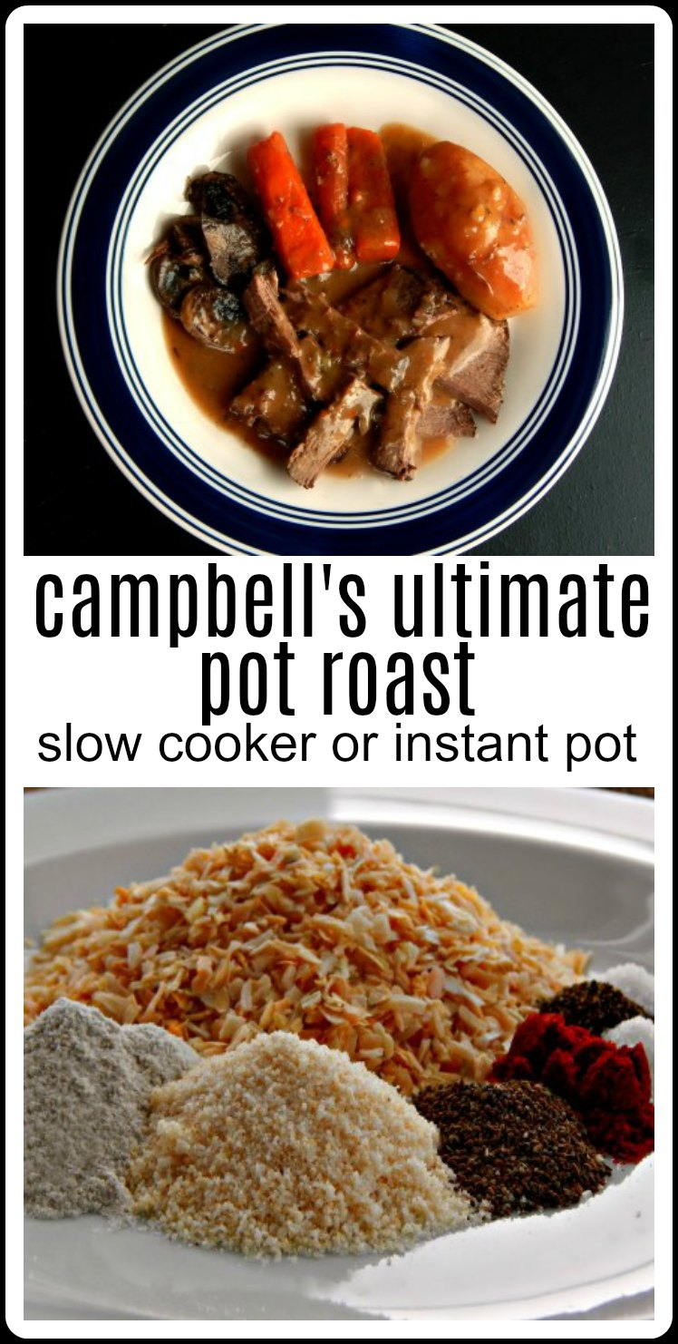 Campbell's Ultimate Pot Roast Instant Pot or Slow Cooker - super easy & delish and it makes its own gravy! And can we say wine? And mushrooms? #CampbellsPotRoast #CampbellsUltimatePotRoastSlowCooker #CampbellsUltimatePotRoastInstantPot