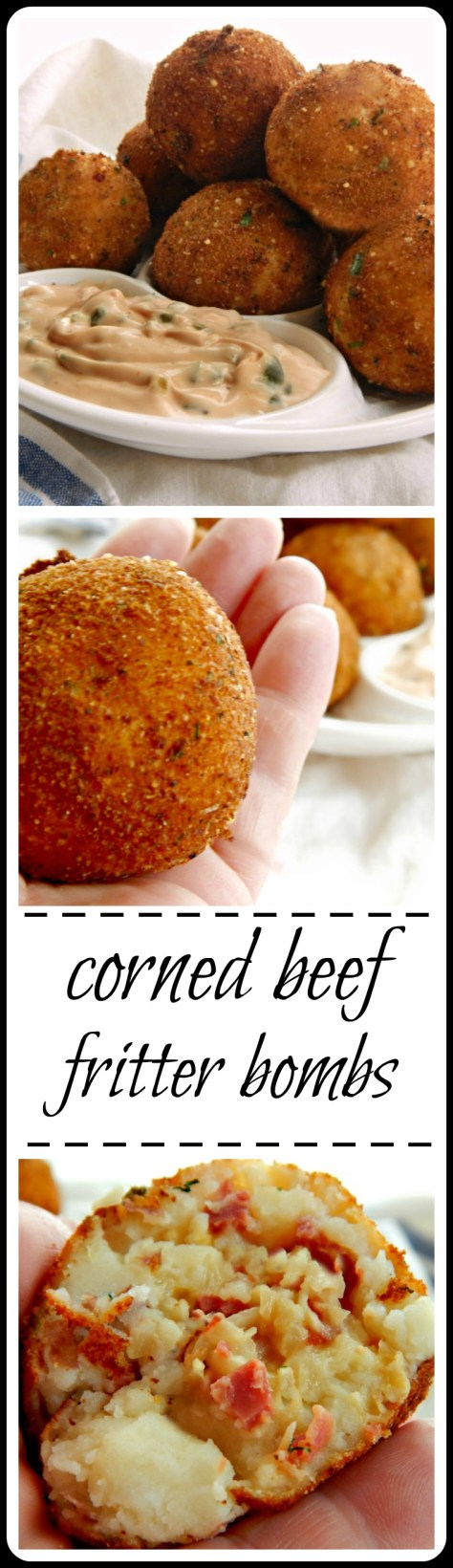 Cheese & Leftover Corned Beef stuffed into a mashed potato ball, breaded and fried! Dip it in 1000 Island for a full on Reuben experience.