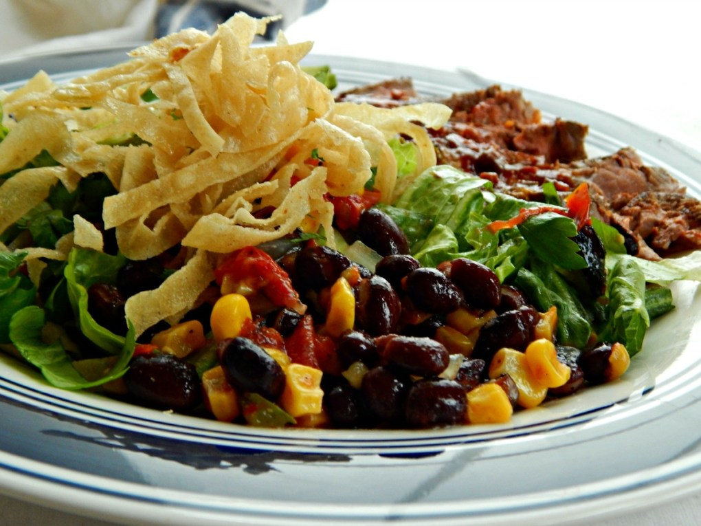Southwestern Steak Salad with Avocado Cilantro Lime Dressing & Roasted Corn & Black Bean Salsa