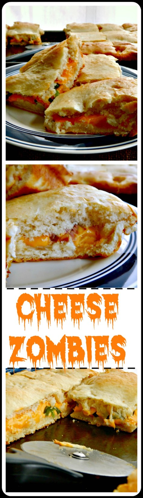 The Original Cheese Zombies: Baked Cheese Sandwiches full of ooey, gooey deliciousness and an easy home-made dough (use store bought in a pinch) these are fantastic for a crowd and freeze well. The classic is cheese but add what you'd like inside!