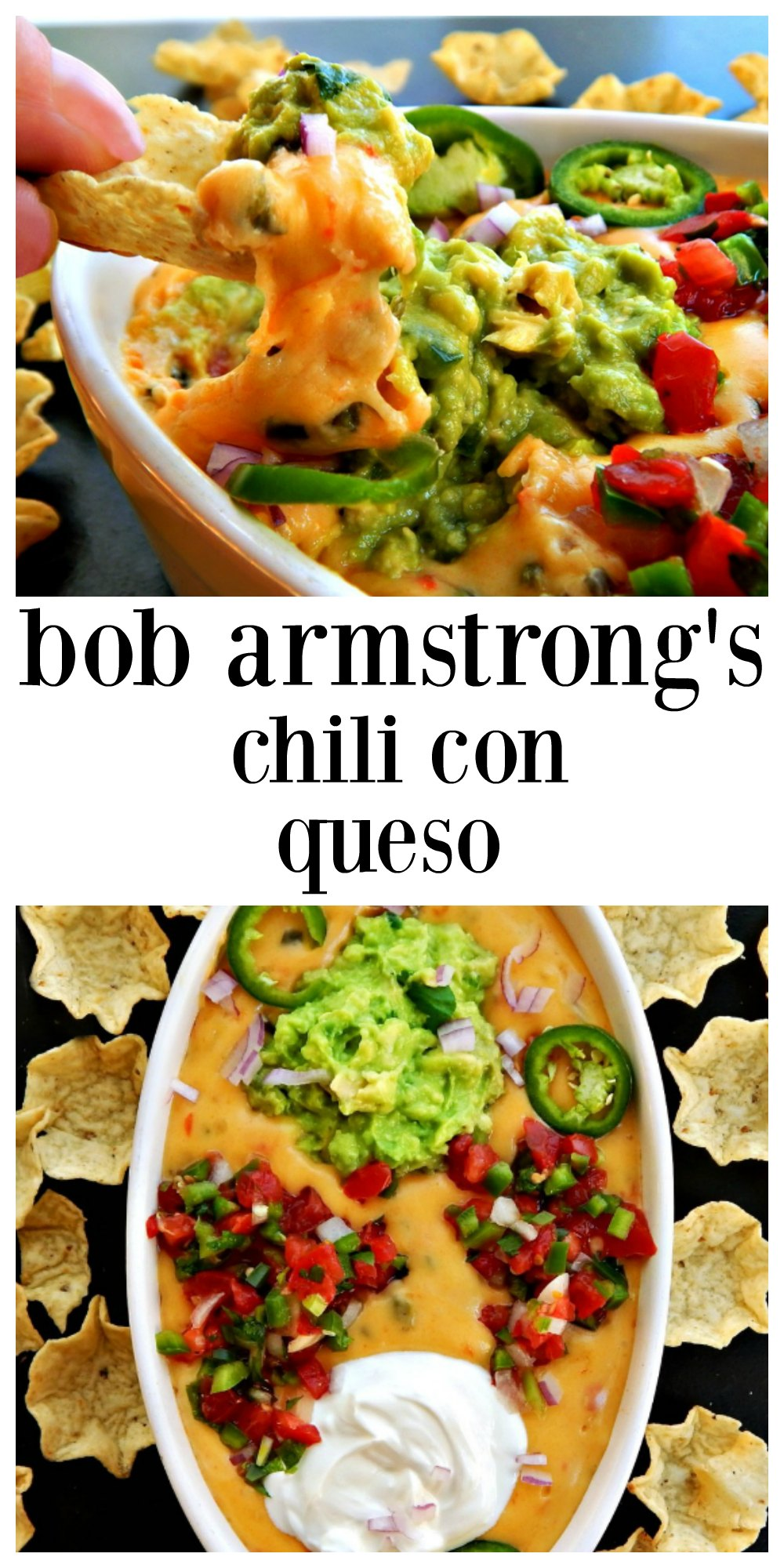 Bob Armstrong Chile con Queso is velvety cheese punctuated by poblano peppers, jalapeno, tomato & onion napped over a old school no bean chili and topped with the works! Pico, Guac, Sour Cream, pickled jalapenos. You will be remembered for this! Make extra, lots extra and refresh as needed! #BobArmstrongChiliConQueso #BobArmstrongChileConQueso #ChiliconQueso #CincoDeMayoChileConQueso