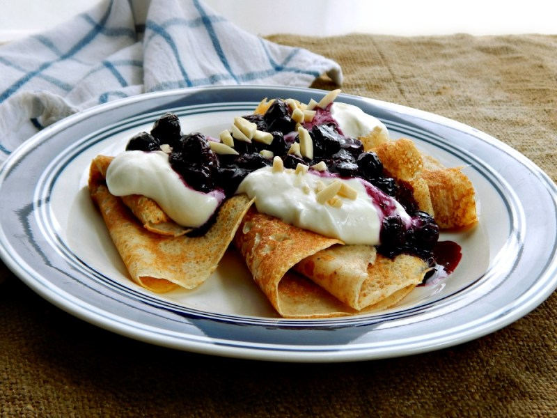 Swedish Pancakes with Blueberry Compote