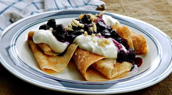 "Swedish Pancakes ""Pannkakor"" with Blueberry Compote"