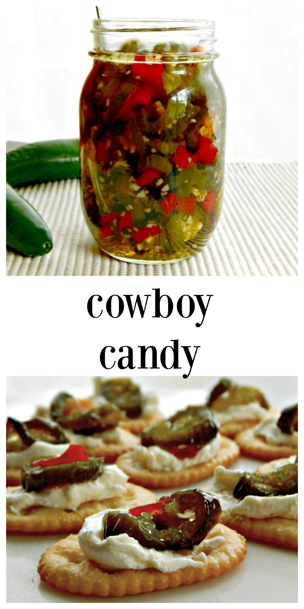 Cowboy Candy Sweet Hot Pickled Peppers are like pickled jalapenos x infinity. Killer hot but tempered by a little sweet, use as a condiment or in a dish! They're a great backyard barbecue or gameday app topping cream cheese spread crackers. Small Batch, refrigerator pickles. #CowboyCandy #GameDayAppetizer #PickledJalapenos