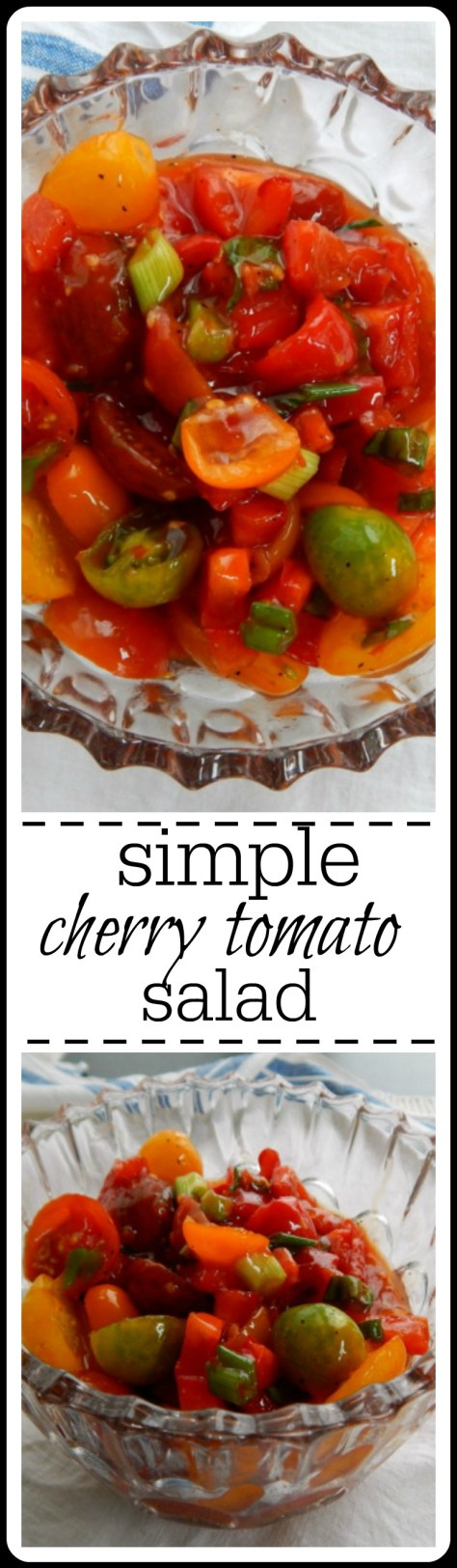 Very simple way to dress up cherry tomatoes (or chunks of any tomato!)