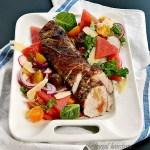 peach glazed pork tenderloin watermelon salad