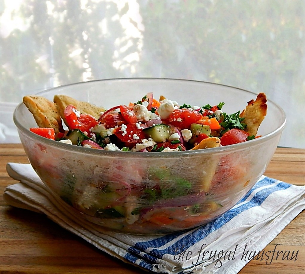Greek Panzanella with Seasoned Oven Roasted Pita Triangles