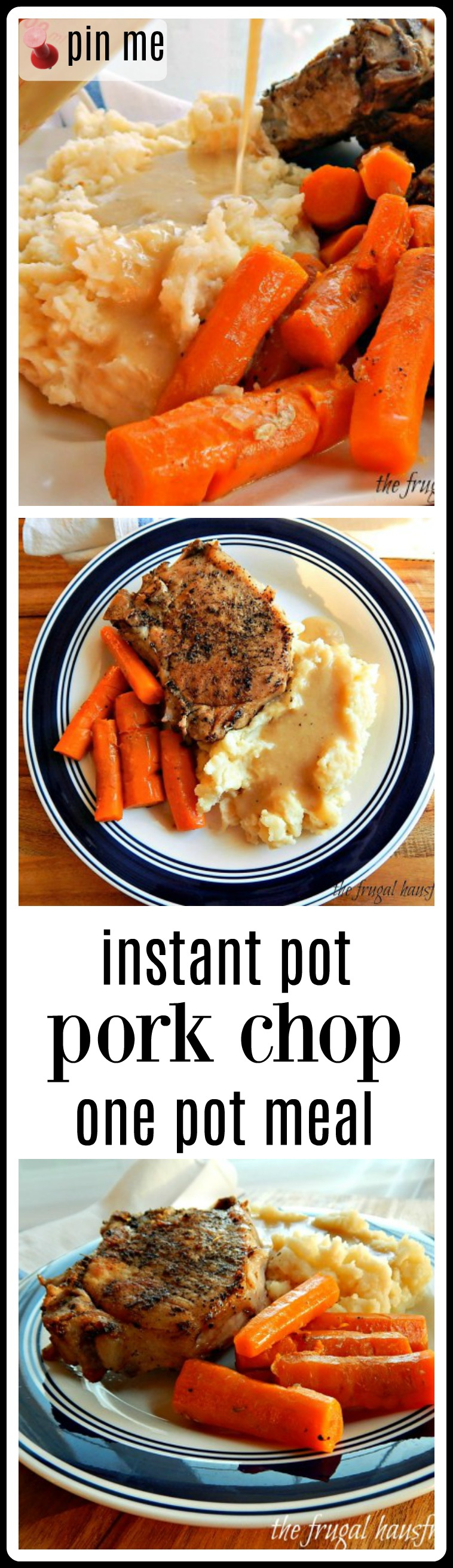 Instant Pot Pork Chop One-Pot Meal is classic Midwestern comfort with all the fixins': seasoned thick-cut pork chops, mashed potatoes with luscious cream gravy & carrots that just about steal the show! A fave of my folks, who are in their 90s now! #PorkChops #InstantPotPorkChops #InstantPotPorkChopOnePotMeal