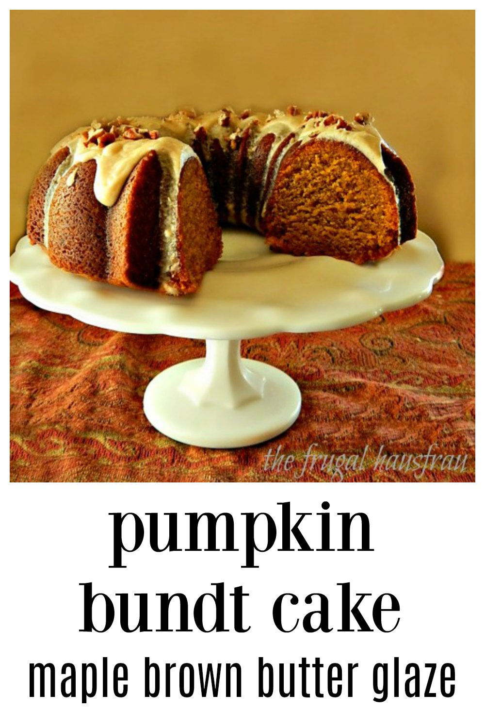 The Pumpkin Bundt Cake is fabulous but the brown butter maple bourbon glaze is incredible! It totally takes this cake over the top! #PumpkinBundtCake #PumpkinCake #ThanksgivingPumpkinCake