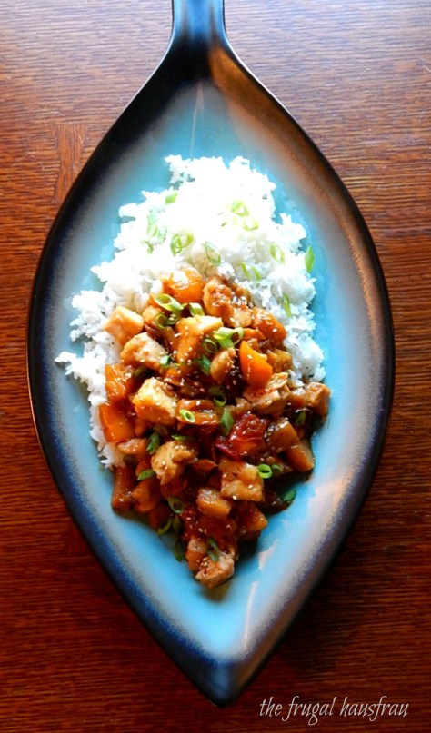 Pineapple Chicken - Chunks of Chicken, bell pepper, onion & pineapple stir fried in a spicy/sweet sauce