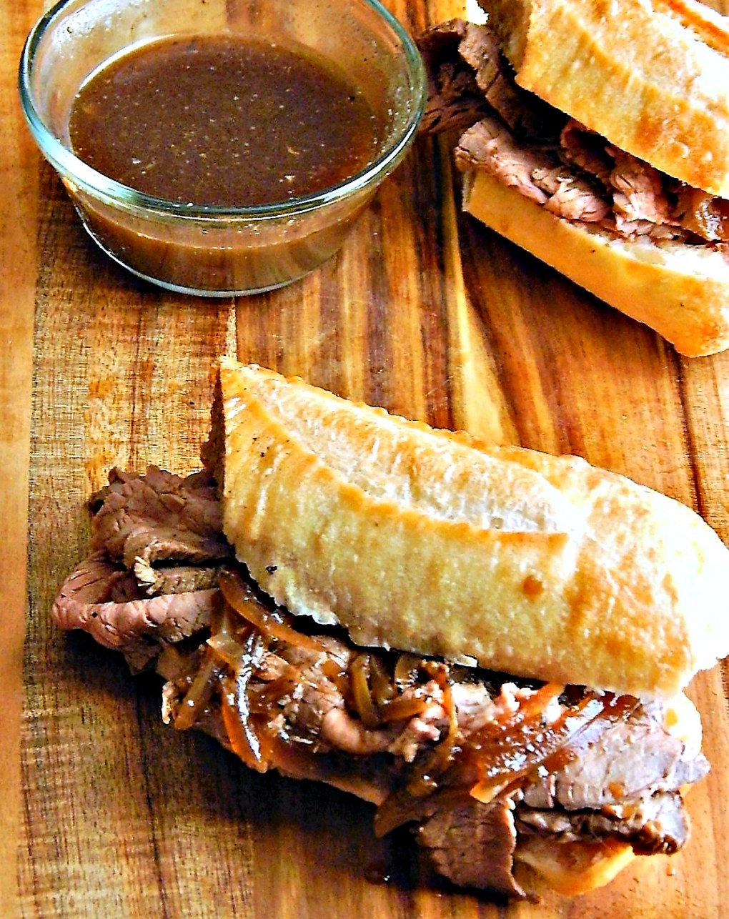 French Dip Sandwiches from 30 minute Instant Pot Roast Beef