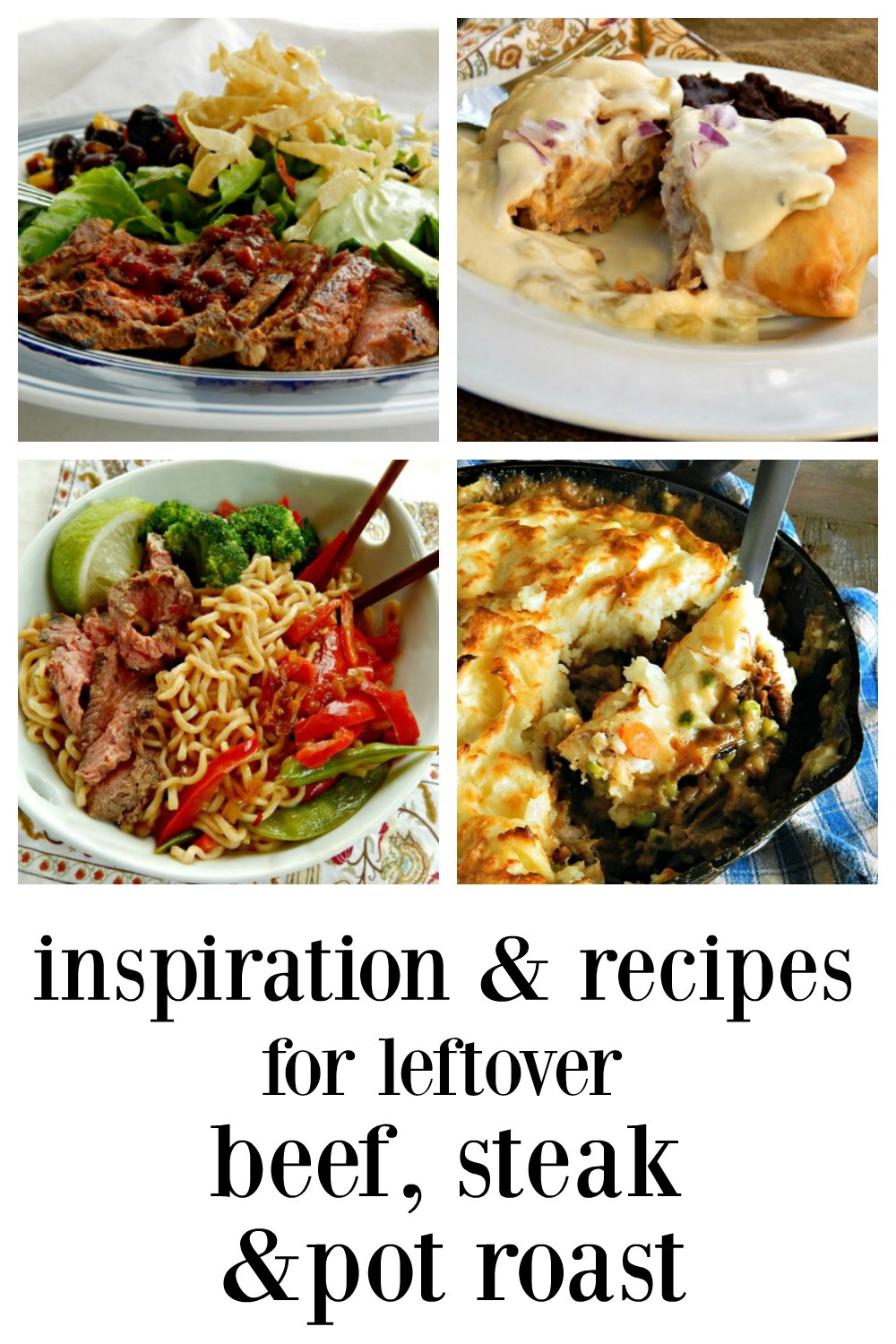 If you want some Inspiration and Recipes for Leftover Beef, Steal or Pot Roast look no further! Here are family faves, tried and true, some better than the original dinner. Around 40 recipes and no big galleries! #LeftoverBeef #BeefLeftovers #BeefRecipes #LeftoverBeefRecipes