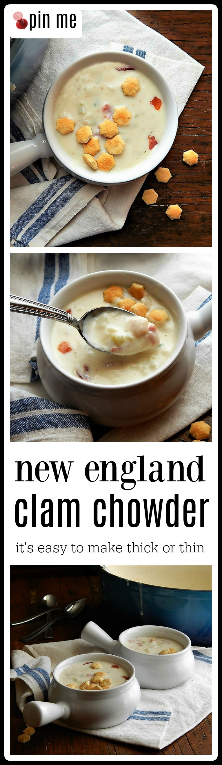 New England Clam Chowder - this is the perfect recipe and it's easy to adjust to your liking! Use canned or frozen clams or cook fresh if they're available. #ClamChowder #NewEnglandClamChowder #CreamyClamChowder