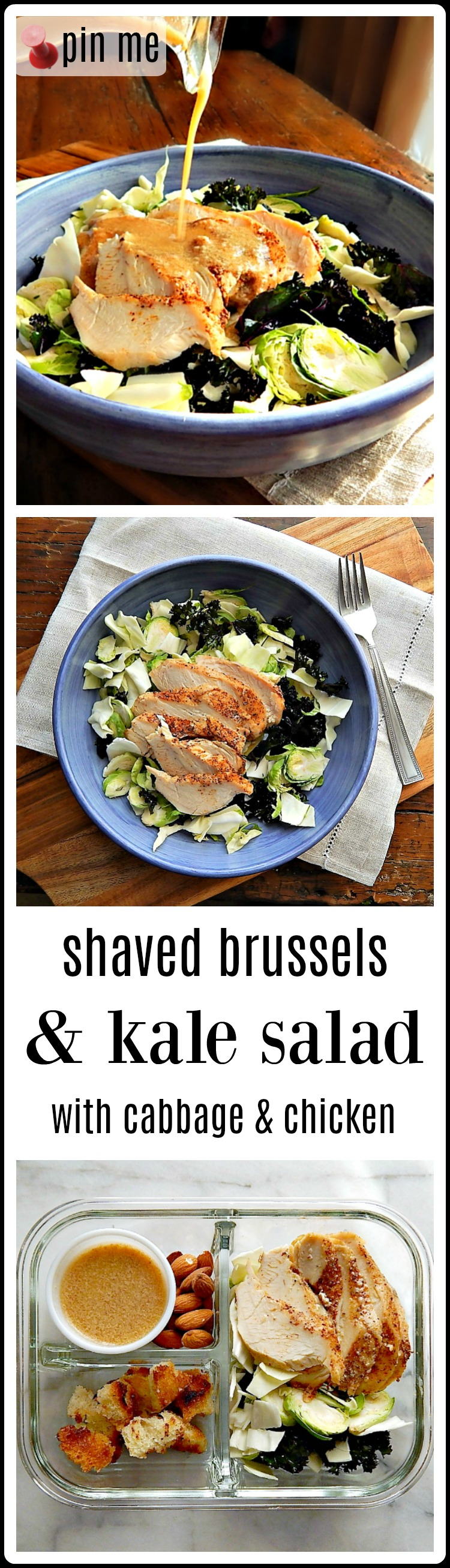 Shaved Brussels & Kale Salad with Chicken Breast. It is loaded with the healthy vegetables: Kale and Brussels Sprouts & Cabbage, and still manages to taste delish!! Perfect for lunch, dinner or meal prep. #ChickenKaleSalad #HealthySalad #KaleBrusselsChickenSalad