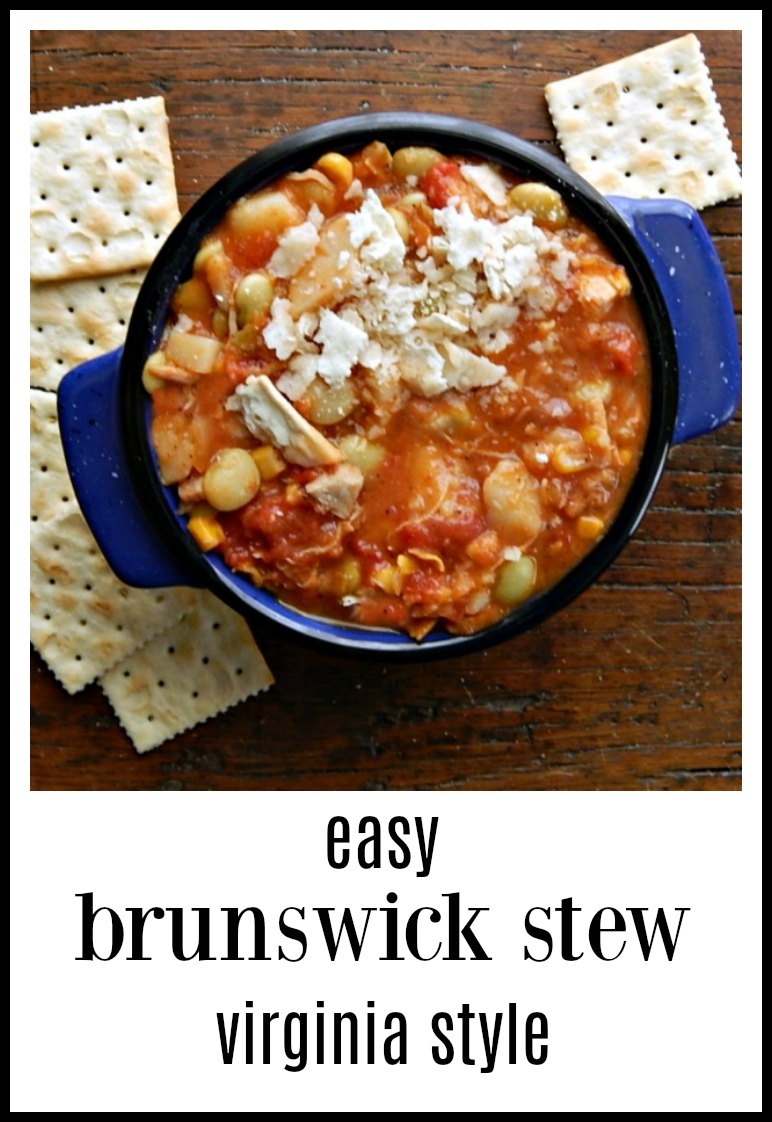 Easy Brunswick Stew Colonial Virginia Style is a gorgeous melange of flavor. The mix of chicken and veggies has definitely stood the test of time! No cauldrons needed for this recipe! #BrunswickStew #VirginiaBrunswickStew #ColonialBrunswickStew