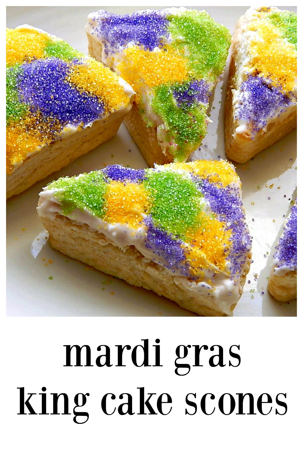 Mardi Gras King Cake Scones are a fun take on the famous New Orlean's King Cake & have cream cheese & almond flavor just like the original. Bonus that these are quick and easy! These would be so perfect for a Brunch. #KingCakeScones #MardiGrasScones #LouisianaCookin' #MardiGrasRecipes #SconeCreamCheese