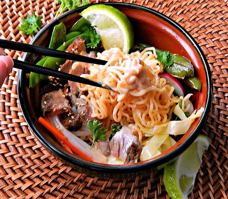 Steak Ramen Bowl with Blistered Green Peppers & Chipotle Yum Yum Sauce