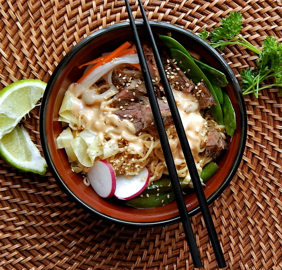 Spicy Steak Ramen Bowl with Blistered Green Peppers & Chipotle Yum Yum Sauce