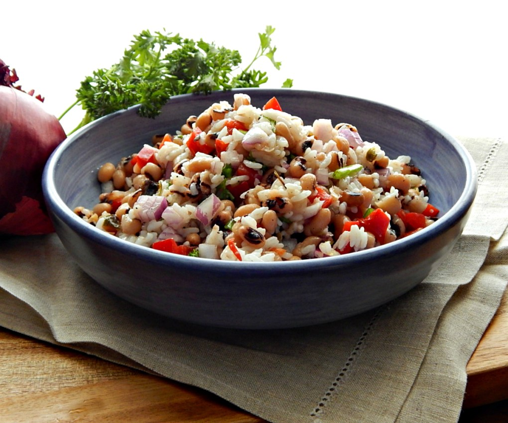 Black Eyed Pea & Rice Salad made with Cilantro Lime Rice Instant Pot or Stove Top Chipotle Copycat