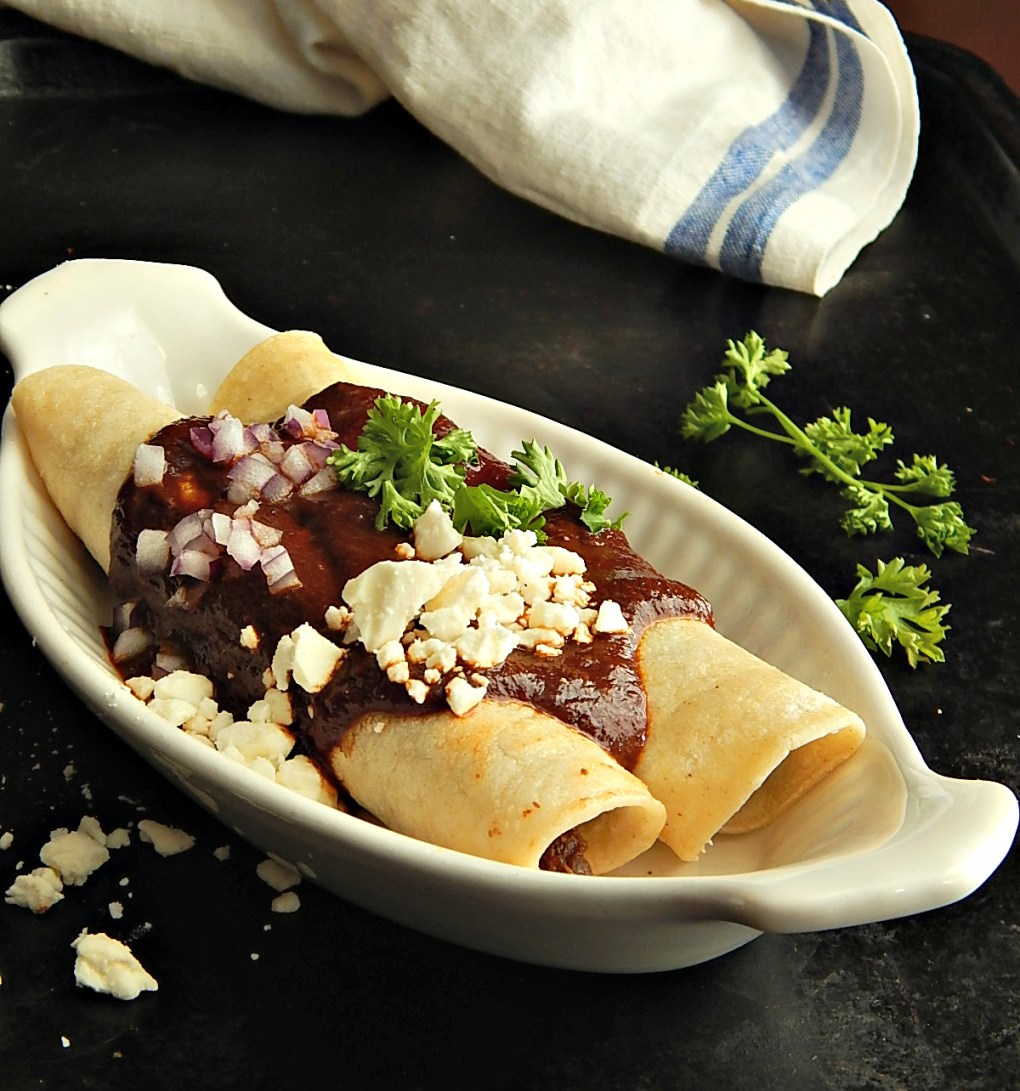 Rick Bayless Brick Red Mole over Shredded Beef Barbacoa Enchiladas