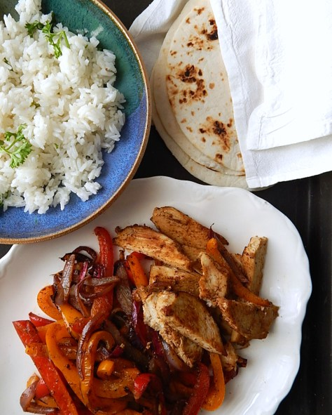 Shortcut Chicken Fajitas & Cilantro Lime Rice.