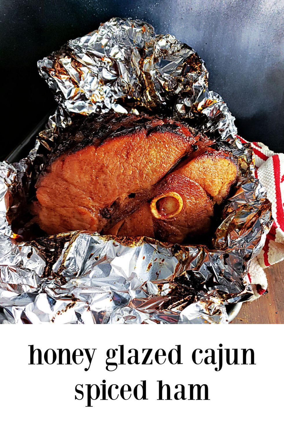 Honey Glazed Cajun Spiced Ham is a fave. The honey spiced glaze hits the perfect sweet spot, the magical place where your taste buds sing without any real heat. #Honey Glazed Cajun Ham #Honey Glazed Ham #Cajun Ham