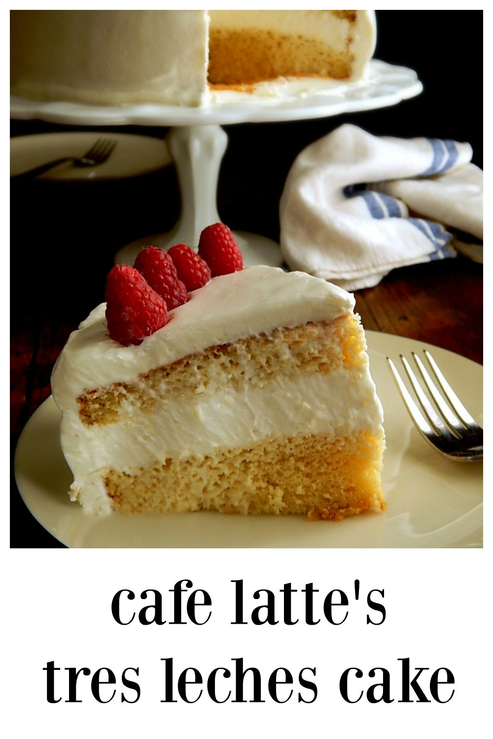 Cafe Latte's Tres Leches Cake is creamy dreamy perfection. Simple, stunning & a great cake for Cinco de Mayo, Easter or any celebration. Cafe Latte is a Twin Cities institution! #TresLechesCake #CafeLatteTresLeches