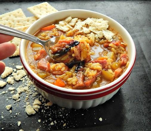 Cajun Ham & Rice Soup