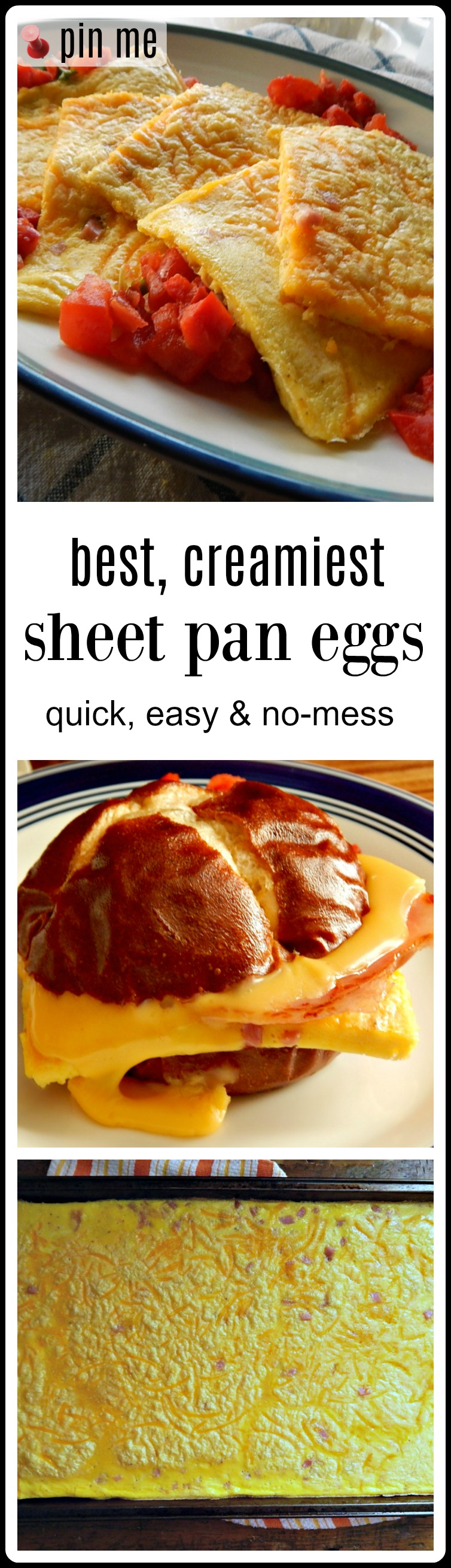 The Best Creamiest Sheet Pan Eggs - fast, easy & quick, these turn out creamy & delish. Perfect for Breakfast or make ahead food prep. #SheetPanEggs #BestSheetPanEggs #BestCreamySheetPanEggs