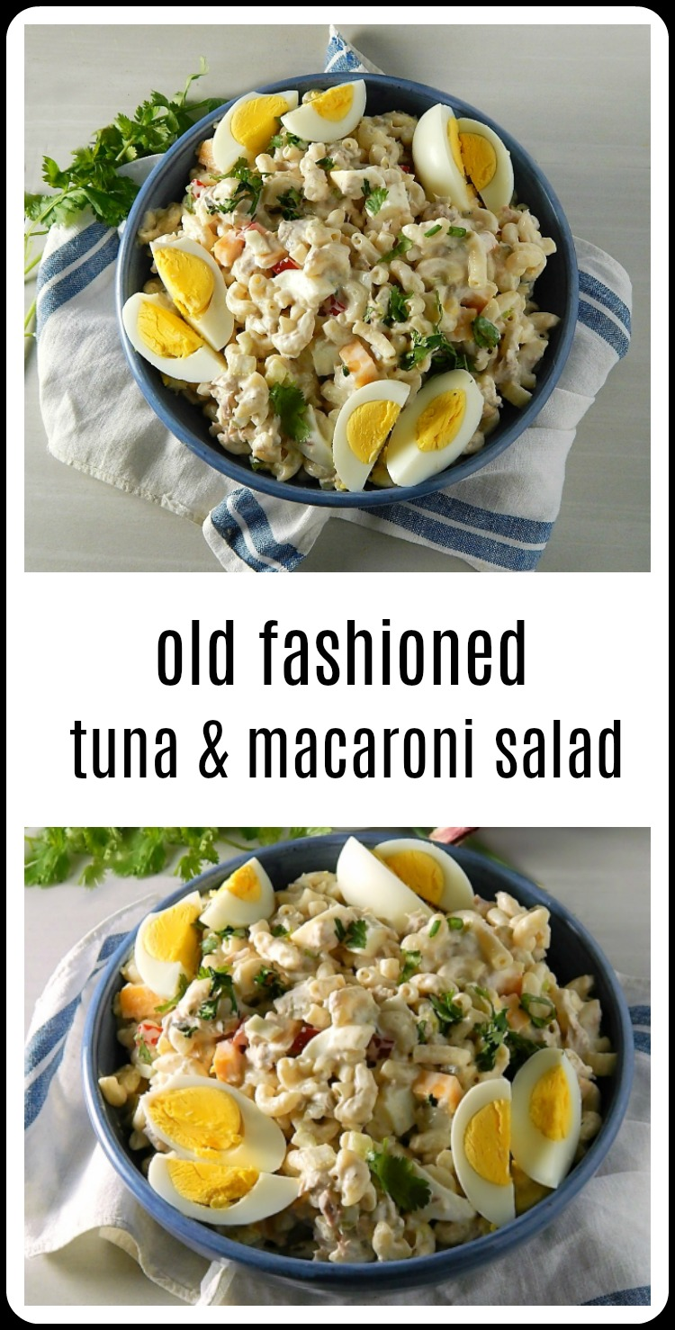 So over the hot hot weekend, I got the idea that I wanted some of that Old Fashioned Tuna Macaroni Salad. You know the one I mean, all cool, creamy deliciousness with a few crunchy veggies and that tuna that somehow melds in and makes everything so rich. #MacaroniSalad #MacaroniTunaSalad #TunaMacaroniSalad
