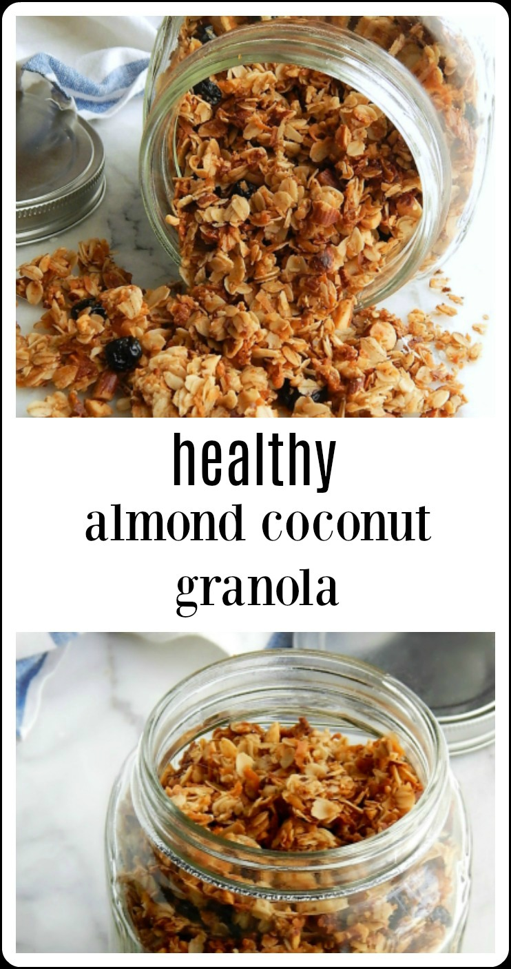 Healthy Almond Coconut Granola is not your Mamma's Granola (unless you're one of my kids!) This is delicate, slightly sweet toasted granola with a fresh taste. You'll love it for breakfast or in smoothie bowls. #HealthyAlmondCoconutGranola #HealthlyGranola #HomemadeGranola