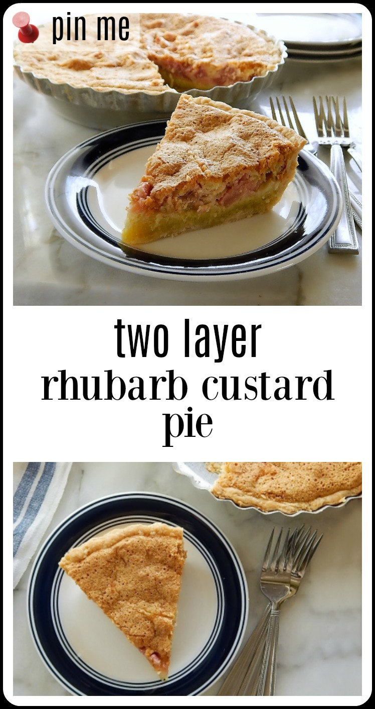 Two Layer Rhubarb Custard Pie is down-home and a little humble but supremely delicious with the tart rhubarb in the top layer and the creamy custard on the bottom. #RhubarbCustardPie #Rhubarb Pie #TwoLayerRhubarbCustardPie