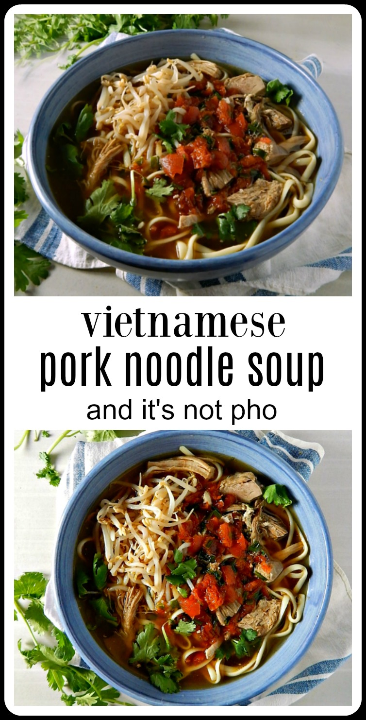 A fast an easy Vietnamese Pork Noodle Soup (not pho!) based on pulled pork with a rich broth, noodles, ginger, garlic and lime! #VittnamesePorkNoodleSoup #VietnameseNoodleSoup #VietnameseSoup #AsianSoup