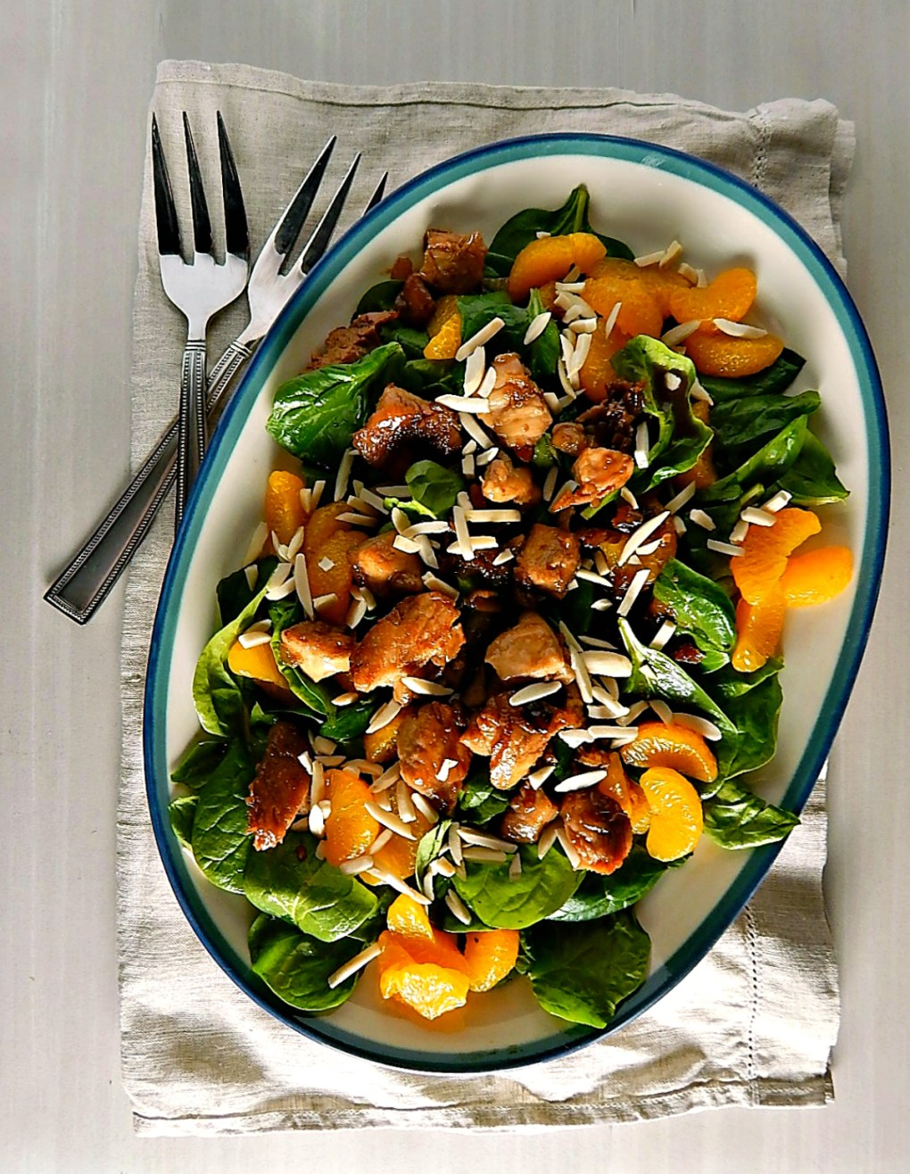 Warm Spinach Chicken Mandarin Salad
